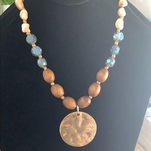 Handmade crystal pendant wood necklace ✨
